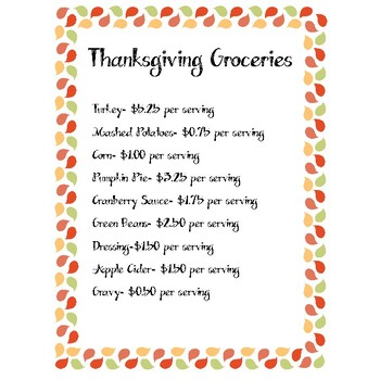 5th Grade Math Decimals Thanksgiving Activity