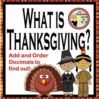 Thanksgiving Math - Adding & Ordering Decimals / A Following Instructions Quiz!