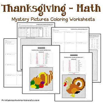 Thanksgiving Decimals Coloring Worksheets
