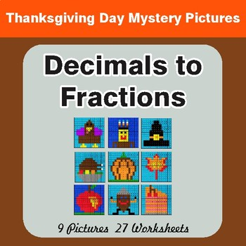Thanksgiving: Decimals To Fractions - Color-By-Number Math Mystery Pictures