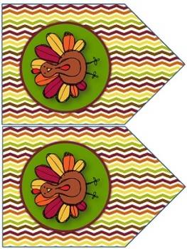 Thanksgiving Decor - EDITABLE {Nameplates} {Napkin Rings} {Banner}