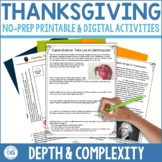 Thanksgiving Activities   Depth and Complexity  Printable