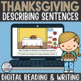 Thanksgiving Descriptive Sentences Writing Activity for Go