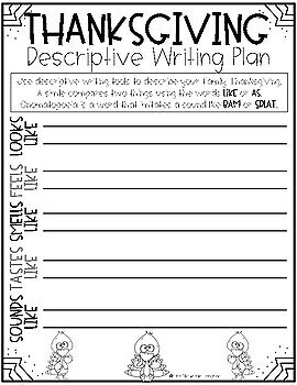 Thanksgiving Descriptive Writing and Craft