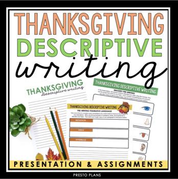 THANKSGIVING DESCRIPTIVE WRITING