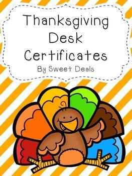 Thanksgiving Desk Certificates