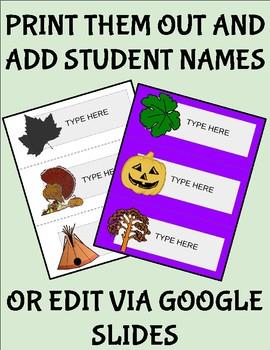 Thanksgiving Desk Tags (Editable on Google Slides)