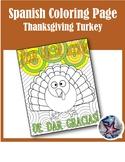 Thanksgiving/Dia de accion de dar gracias-Fall Spanish Adult Coloring Page