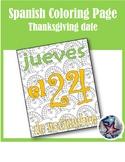 Thanksgiving/Dia de accion de gracias-Fall Spanish Adult Coloring Page