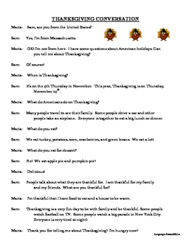 Thanksgiving Dialogue - question formation, present tense