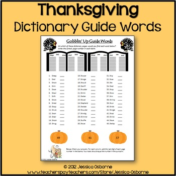 Thanksgiving Dictionary Guide Words