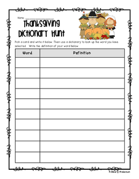 Thanksgiving Dictionary Hunt - Dictionary Practice - Guide Words