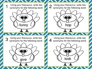 Thanksgiving Dictionary and Thesaurus Skills Task Cards by KMediaFun