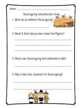 Thanksgiving Differentiated Nonfiction and Reading Comprehension
