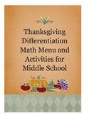 Thanksgiving Differentiation Math Menus