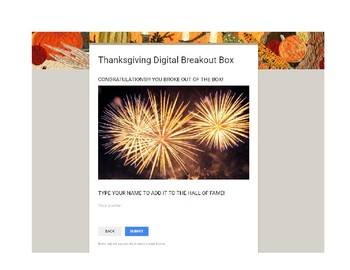 Thanksgiving Digital Breakout Box/ Escape Room