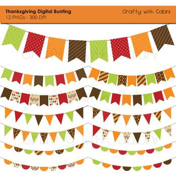 Thanksgiving Digital Bunting, 12 Thanksgiving Bunting clipart, Autumn bunting