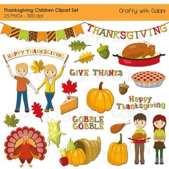 Thanksgiving Digital Clip Art, Thanksgiving Children Clip Art, Pumpkin, Turkey