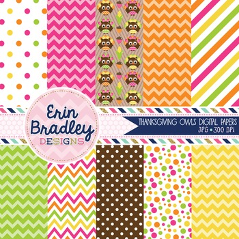 Thanksgiving Digital Papers - Owls