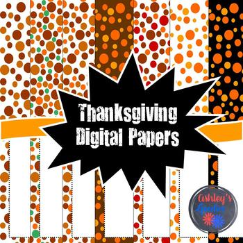 Thanksgiving Digital Papers with Matching Frames