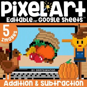 Thanksgiving Digital Pixel Art Magic Reveal ADDITION & SUBTRACTION
