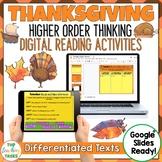 Thanksgiving Digital Reading Comprehension Activity for Google Slides | Fall