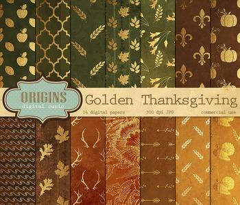 Thanksgiving Digital Scrapbook Paper Backgrounds