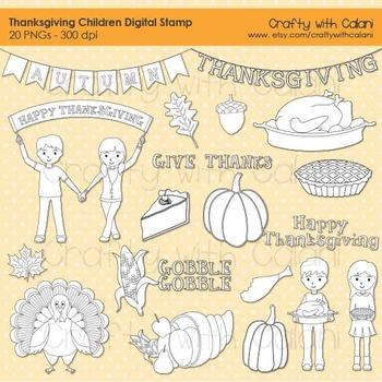 Thanksgiving Digital Stamp, Thanksgiving children digital stamp, Pumpkin, Turkey