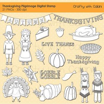 Thanksgiving Digital Stamp, Thanksgiving pilgrimage and Native American stamp