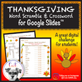 Thanksgiving Digital Word Scramble & Crossword Puzzles for
