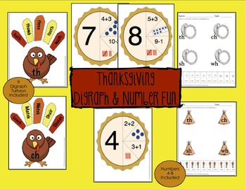 Thanksgiving Digraph Turkeys and Number Pie Fun
