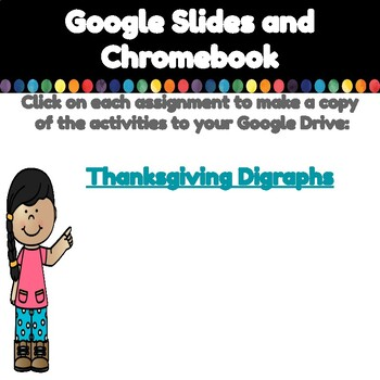 Thanksgiving Digraphs-A Digital Literacy Center (Compatible with Google Apps)