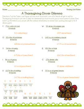 Thanksgiving Dilemma - Finding Unit Rates Worksheet