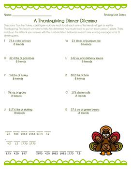 Thanksgiving Dilemma - Finding Unit Rates Worksheet
