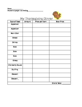 Holiday/Thanksgiving/Christmas Dinner Activity