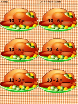 Thanksgiving Dinner Addition and Subtraction Game