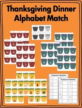 Thanksgiving Dinner Alphabet Matching Literacy Center