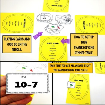 Thanksgiving Subtraction Facts Game