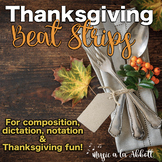 Music Thanksgiving Beat Strips & Composition Cards for Rhy