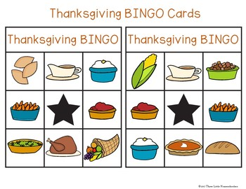 Thanksgiving Dinner Bingo with 30 unique cards