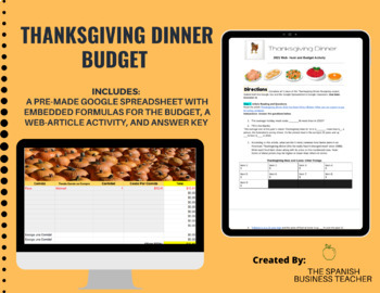 Thanksgiving Dinner Budget Project (English)