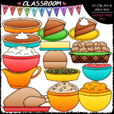 Thanksgiving Dinner - Clip Art & B&W Set