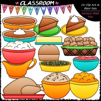 Thanksgiving Dinner Clip Art - Thanksgiving Clip Art & B&W Set