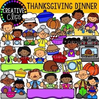 Thanksgiving Dinner Clipart {Creative Clips Clipart}