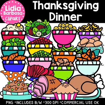 Thanksgiving Dinner Clipart {Lidia Barbosa Clipart}