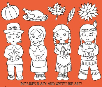 Thanksgiving Dinner Clipart Pilgram and Native Americans includes line art