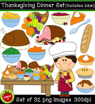 Thanksgiving Dinner Clipart Set (32 png, 300dpi images. Commercial/personal use)