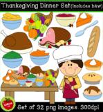 Thanksgiving Dinner Clipart Set (32 png, 300dpi images. Co