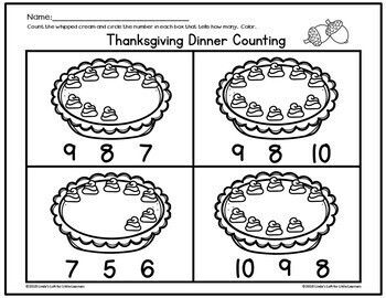 Thanksgiving Dinner Count and Clip Cards 0-10