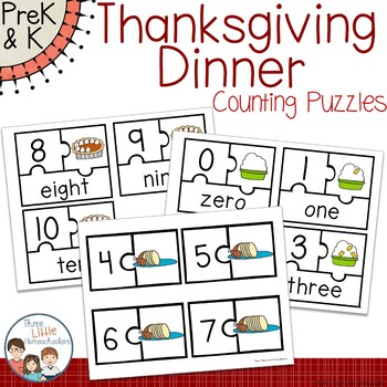Thanksgiving Dinner Counting Puzzles Math Center